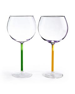 Color Accent Red Wine Glasses Set