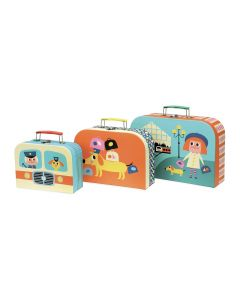 Cardboard Suitcase Toy Set of 3