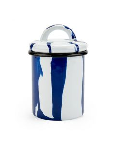 Striped Enamel Blue Jars